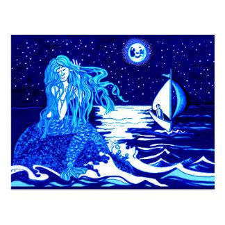Sirena y marinero postales