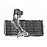 Sirena y ondas postal