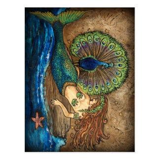 Sirena y pavo real postal