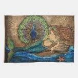 Sirena y pavo real toalla de cocina
