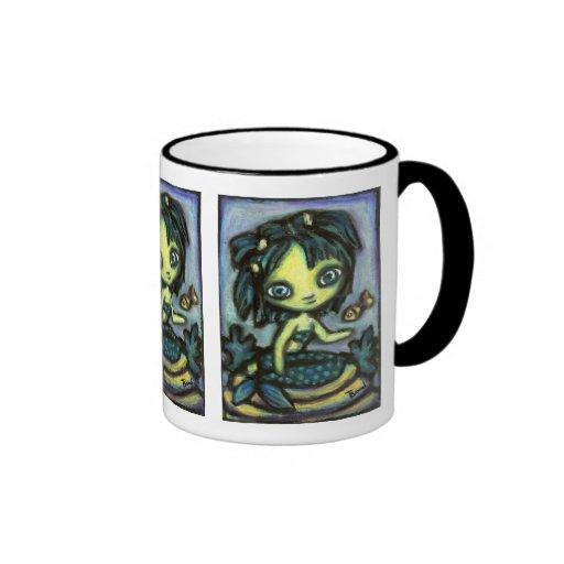 Sirena y pescados taza de café