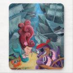 Sirena y piratas lindos alfombrillas de ratón