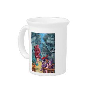 Sirena y piratas lindos jarra de beber