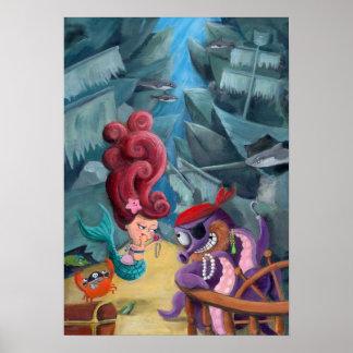 Sirena y piratas lindos poster