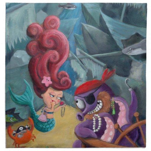 Sirena y piratas lindos servilleta