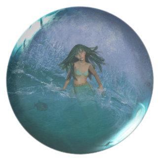 Sirena y placa del arte de la fantasía de la onda platos de comidas
