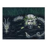 Sirena y postal góticas del pantano del dragón