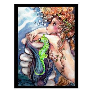 Sirena y postal verde clara del SeaHorse