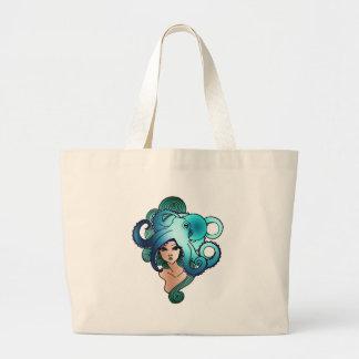 sirena y pulpo bolsa tela grande