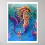 Sirena y Seahorses, coloridos Poster