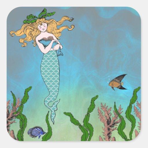 Sirena y sello pegatina cuadrada