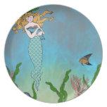 Sirena y sello plato para fiesta