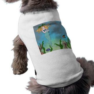 Sirena y sello playera sin mangas para perro