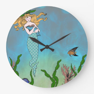 Sirena y sello reloj redondo grande