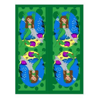 Sirena y señales verdes de Merfaery Postales