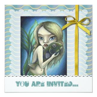 """Sirena y siluro invitación 5.25"""" x 5.25"""""""