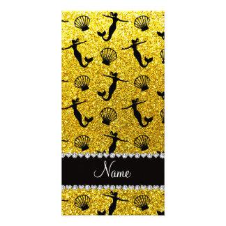 Sirenas amarillas de neón conocidas personalizadas tarjeta fotográfica