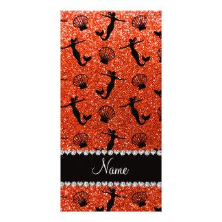 Sirenas anaranjadas de neón conocidas tarjetas fotográficas personalizadas