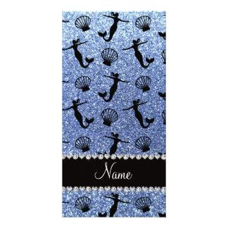 Sirenas azules claras conocidas personalizadas del plantilla para tarjeta de foto