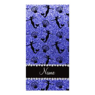 Sirenas azules de neón conocidas personalizadas tarjeta con foto personalizada