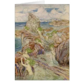 Sirenas con el pelo del verde de mar tarjeta de felicitación