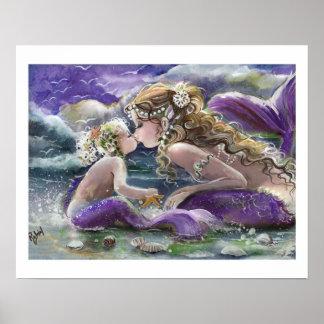 Sirenas de Kissy en púrpura, madre y niño Póster