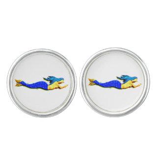 sirenas de la azul-cola que nadan gemelos