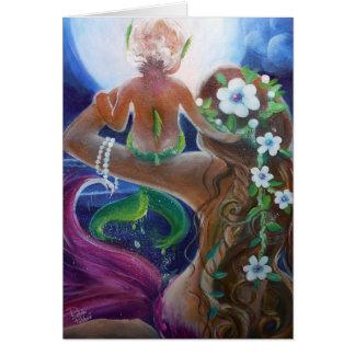 Sirenas del bebé y de la madre, arte grande de la tarjeta de felicitación