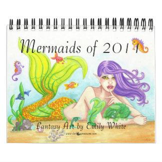 Sirenas del calendario 2011 del arte del ejemplo