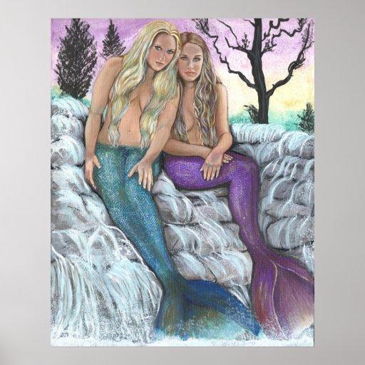 Sirenas del río de Laurie Leigh Posters