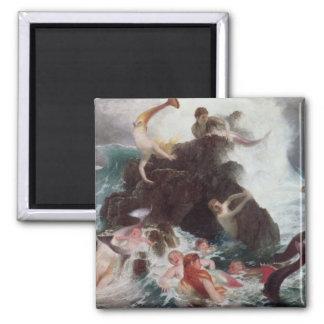 Sirenas en el juego, 1886 (aceite en lona) imán cuadrado