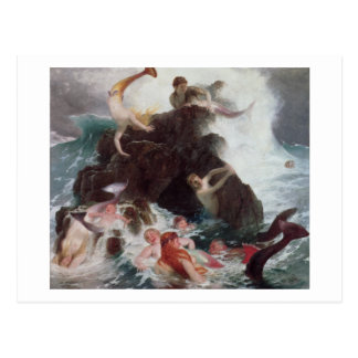 Sirenas en el juego, 1886 (aceite en lona) tarjeta postal