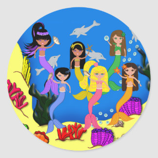 Sirenas en el océano con el pegatina de los