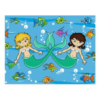 Sirenas lindas con los pescados tropicales postales
