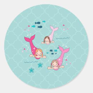 Sirenas Pegatina Redonda
