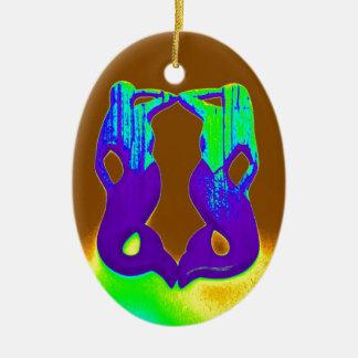 sirenas púrpuras gemelas adorno navideño ovalado de cerámica