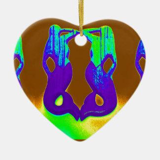 sirenas púrpuras gemelas del puesto de observación adorno navideño de cerámica en forma de corazón