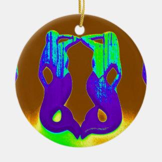 sirenas púrpuras gemelas del puesto de observación adorno navideño redondo de cerámica