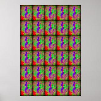 sirenas púrpuras retras maravillosas del hippie póster