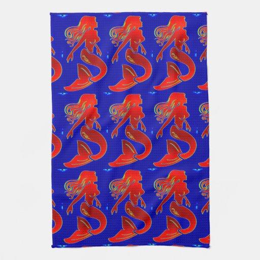 sirenas rojas en la toalla de cocina azul