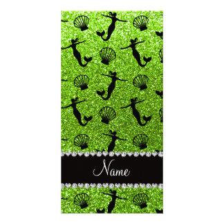 Sirenas verdes de neón conocidas personalizadas tarjetas personales con fotos