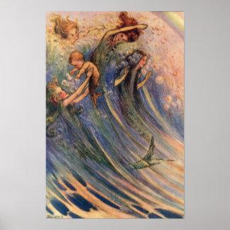 Sirenas y bebés póster