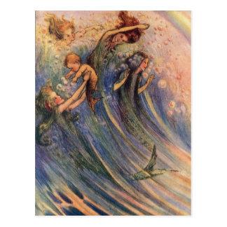 Sirenas y bebés tarjetas postales