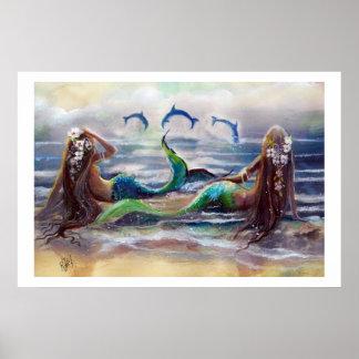 Sirenas y poster 2013 de los delfínes póster