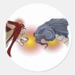 Sirius y cautela pegatina redonda
