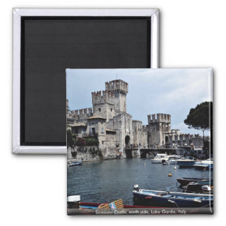 Sirmione Castle, south side, Lake Garda, Italy 2 Inch Square Magnet