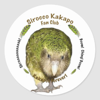 Sirocco Kakapo Fan Club Round Stickers