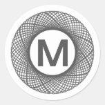 Sirograph circular sticker with monogram pattern