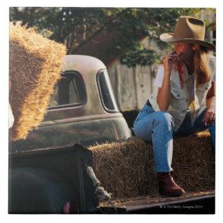 Sirva poner las balas de heno en el camión con la  azulejo cuadrado grande