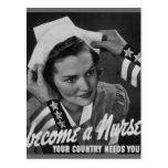 Sirva su país hacen una enfermera postales